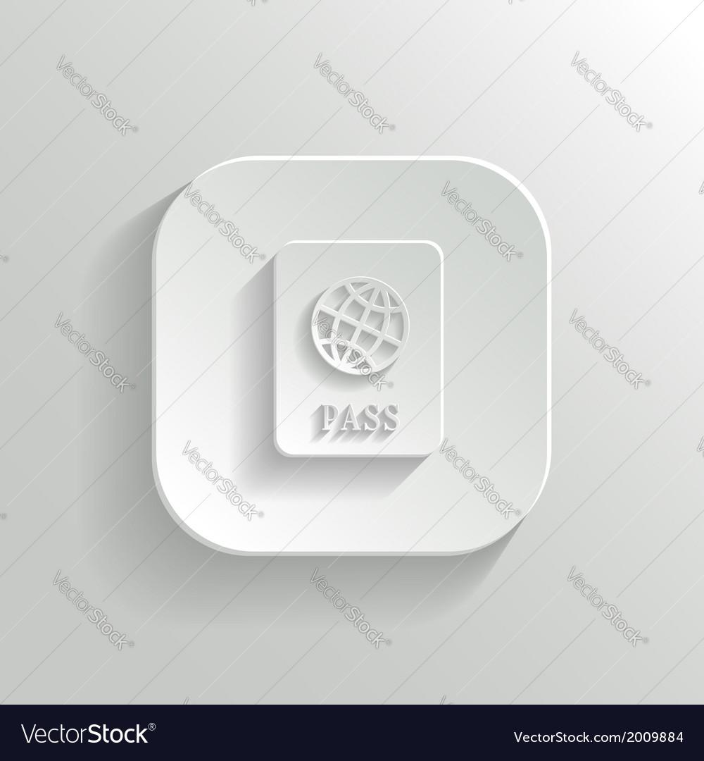 Passport icon - white app button vector | Price: 1 Credit (USD $1)