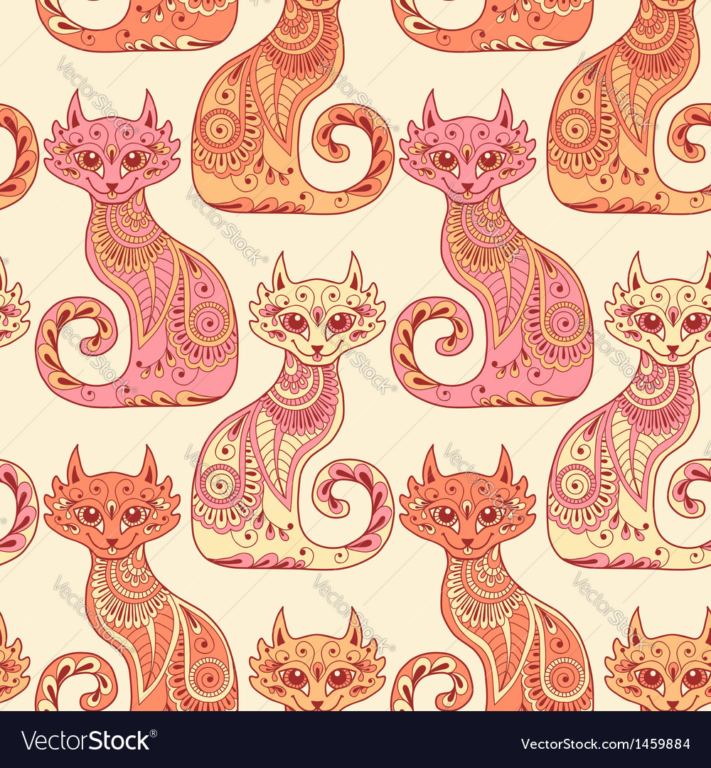 Seamless pattern with beautiful cats vector | Price: 1 Credit (USD $1)