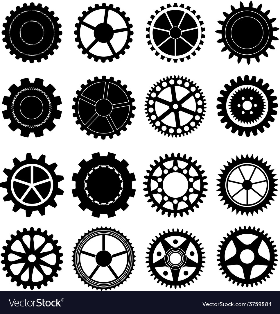 Settings gear icons set vector | Price: 1 Credit (USD $1)