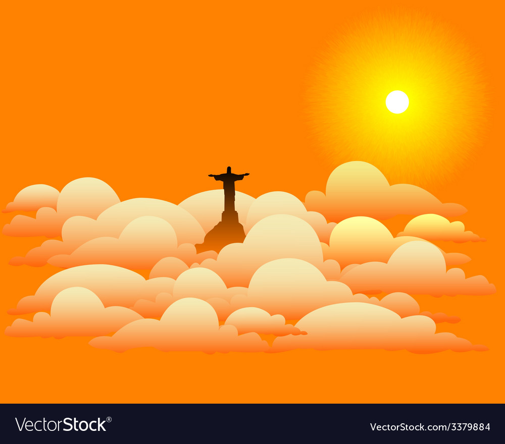 Statue of jesus christ in the clouds vector | Price: 1 Credit (USD $1)