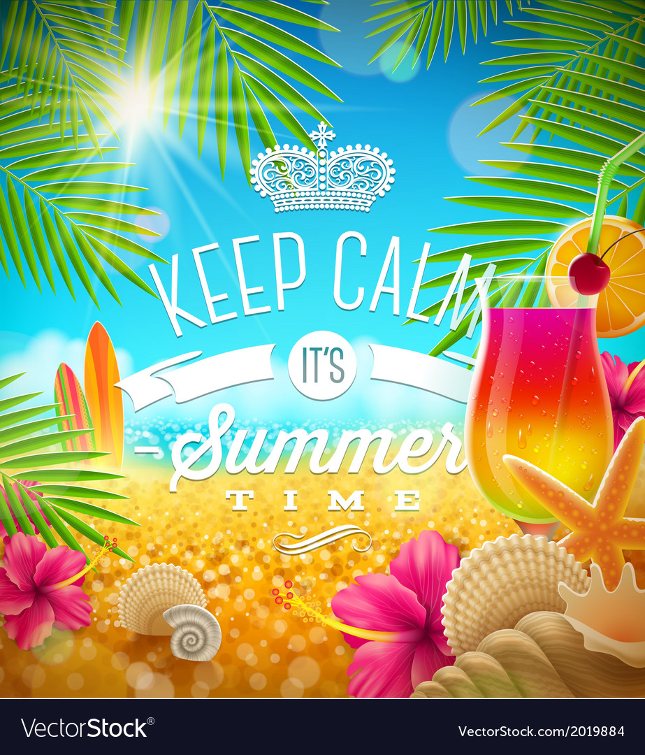 Summer holidays greeting tropical design vector | Price: 1 Credit (USD $1)