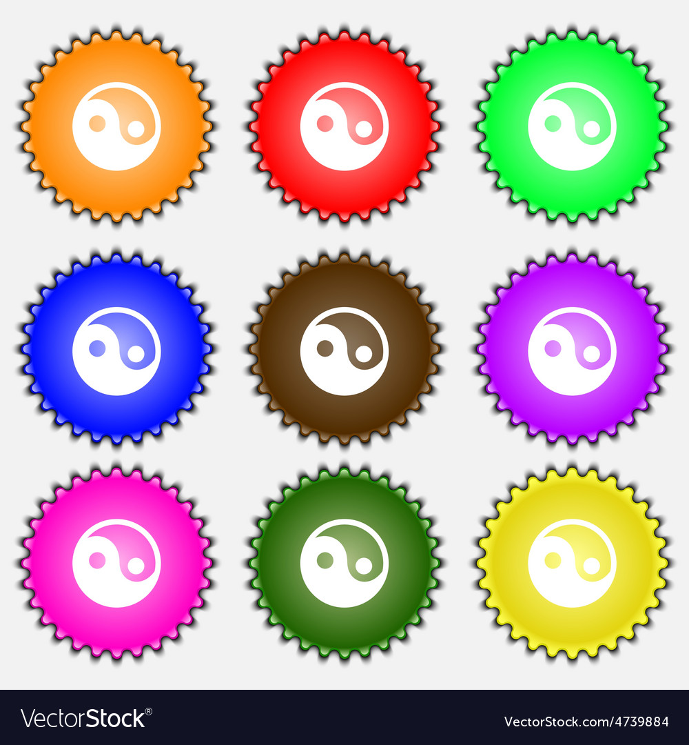 Ying yang icon sign a set of nine different vector | Price: 1 Credit (USD $1)