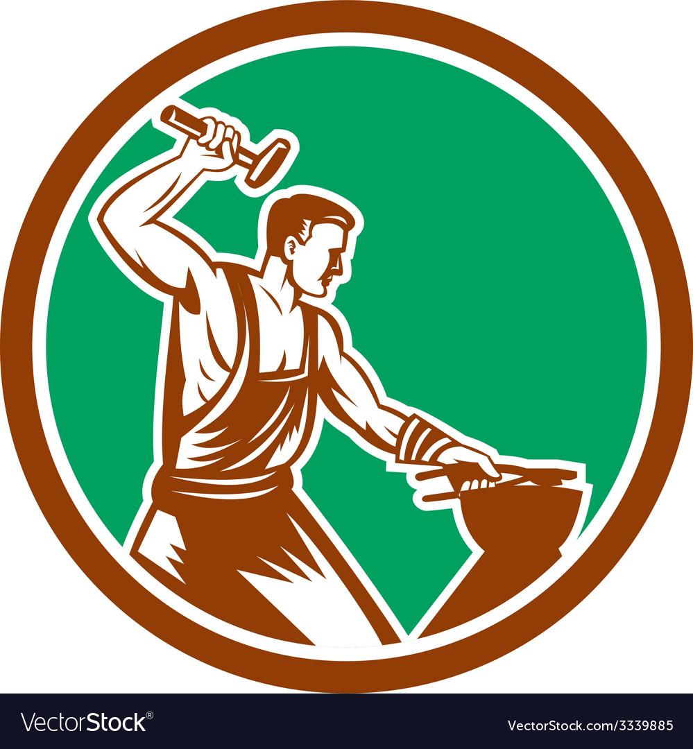Blacksmith hammering pliers circle retro vector | Price: 1 Credit (USD $1)