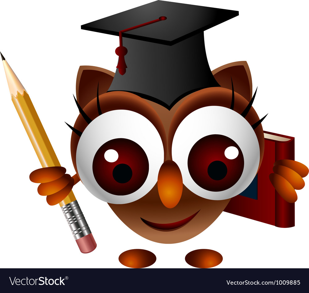 Cute owl with pencil and book vector   Price: 3 Credit (USD $3)