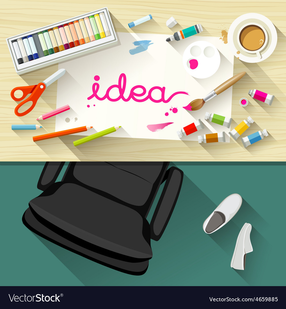 Designer desk artist collections of flat design vector | Price: 3 Credit (USD $3)
