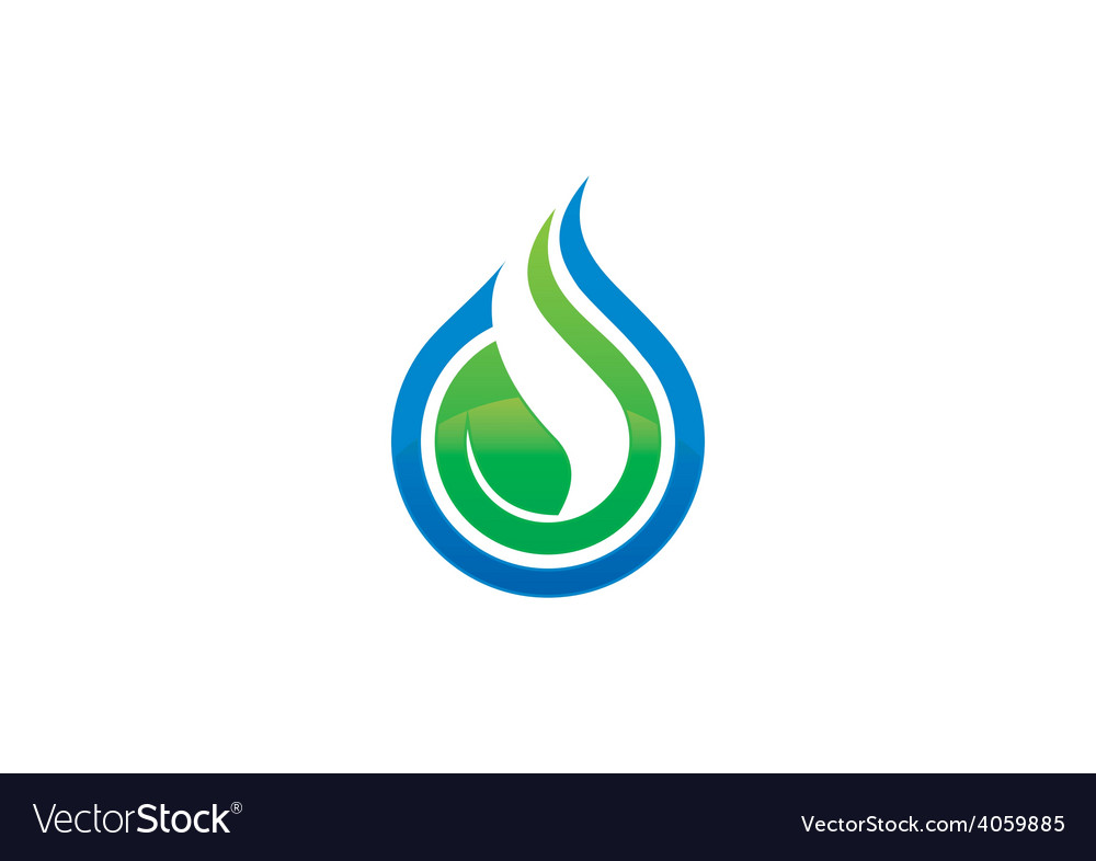 Ecology water drop leaf logo vector | Price: 1 Credit (USD $1)