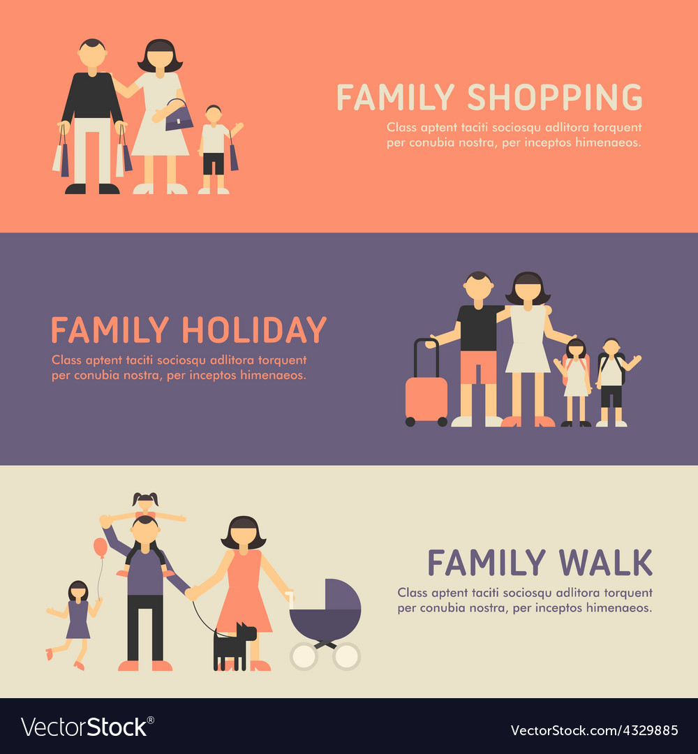 Family shopping family holiday and family walk vector | Price: 1 Credit (USD $1)
