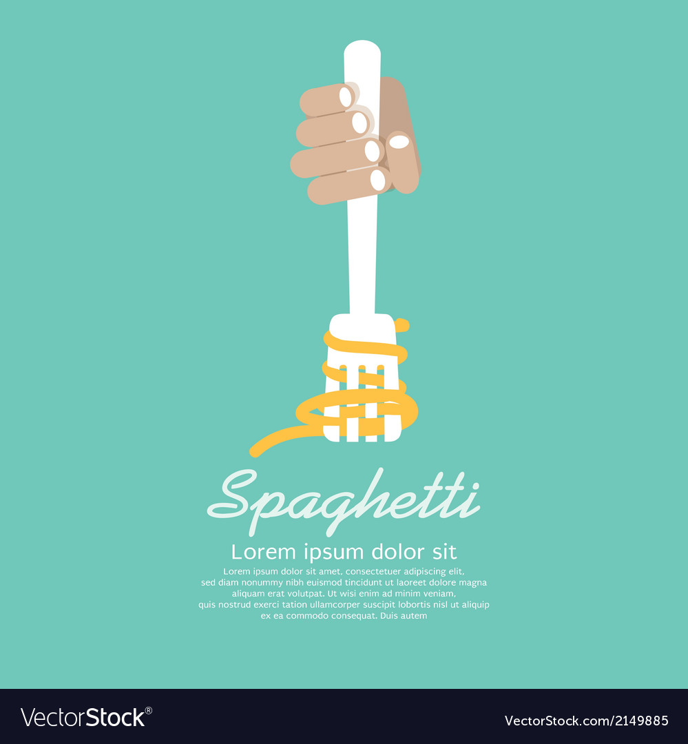 Hand holding fork with spaghetti vector | Price: 1 Credit (USD $1)