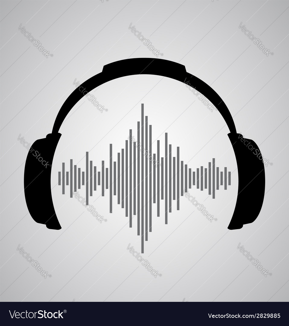 Headphones icon with sound wave beats flat vector | Price: 1 Credit (USD $1)