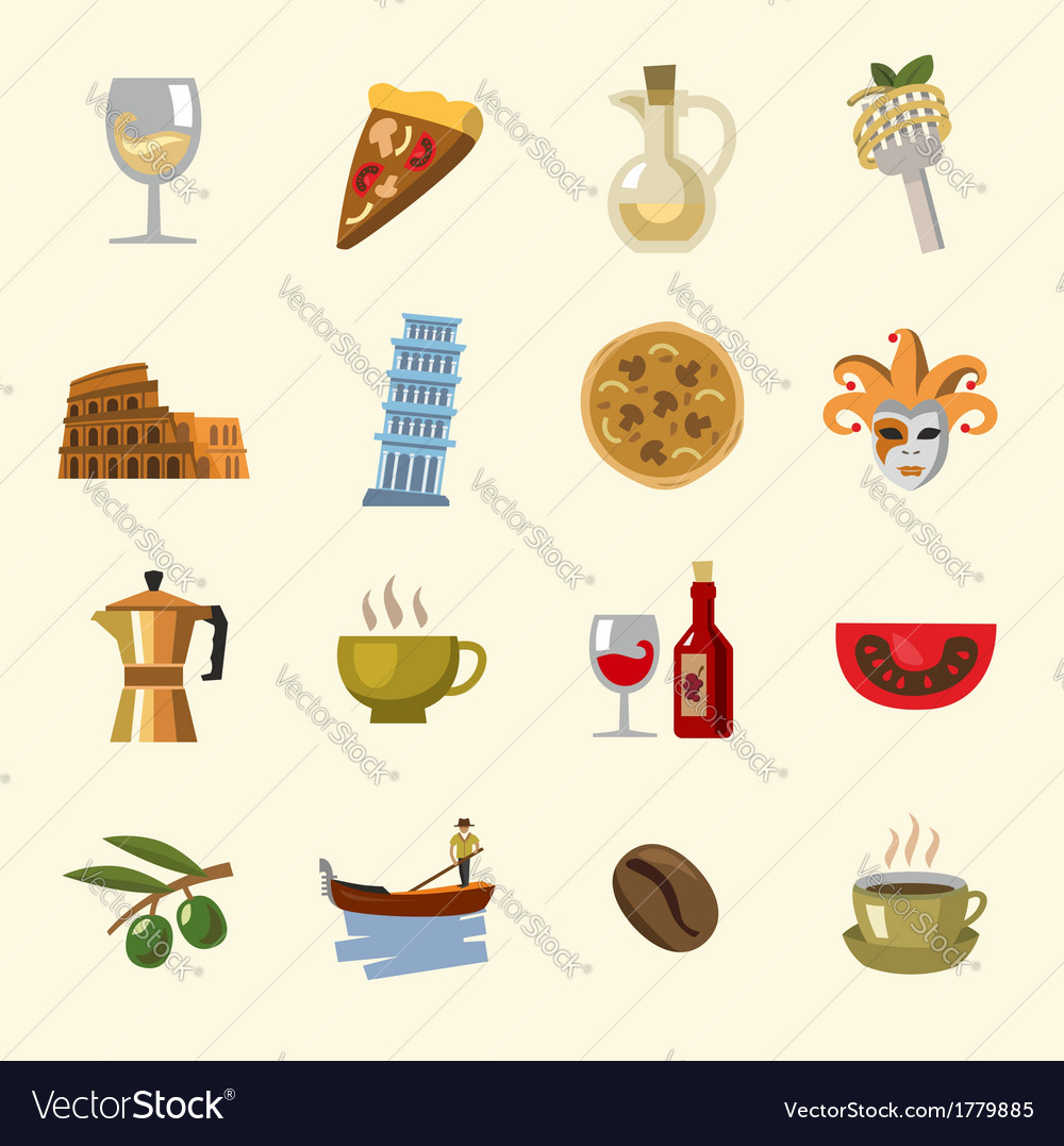 Italy icons set vector | Price: 1 Credit (USD $1)