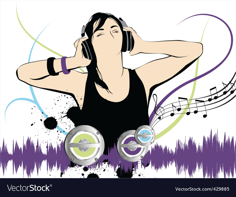 Listening to the music vector | Price: 3 Credit (USD $3)