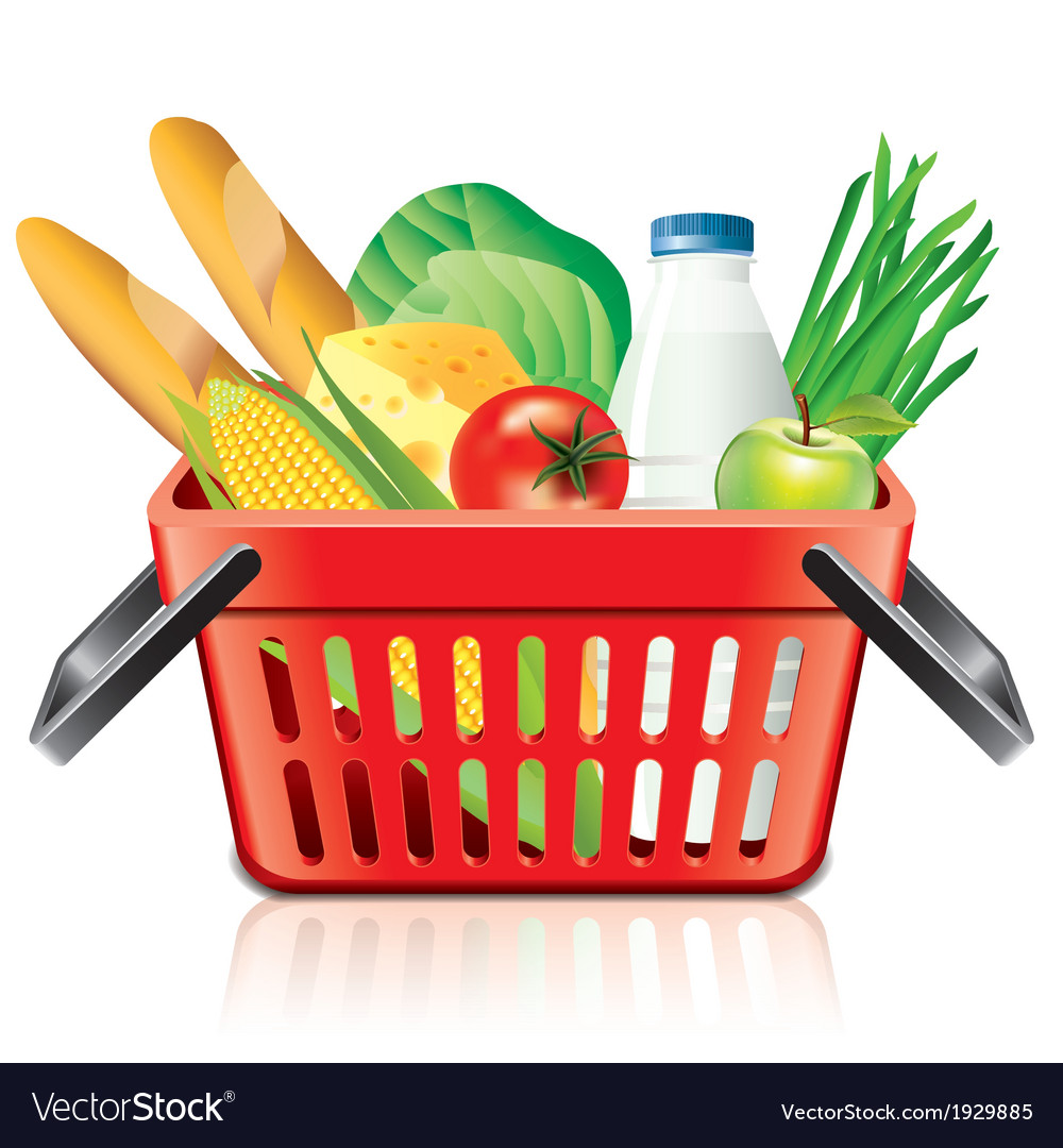Object shopping basket products vector | Price: 1 Credit (USD $1)