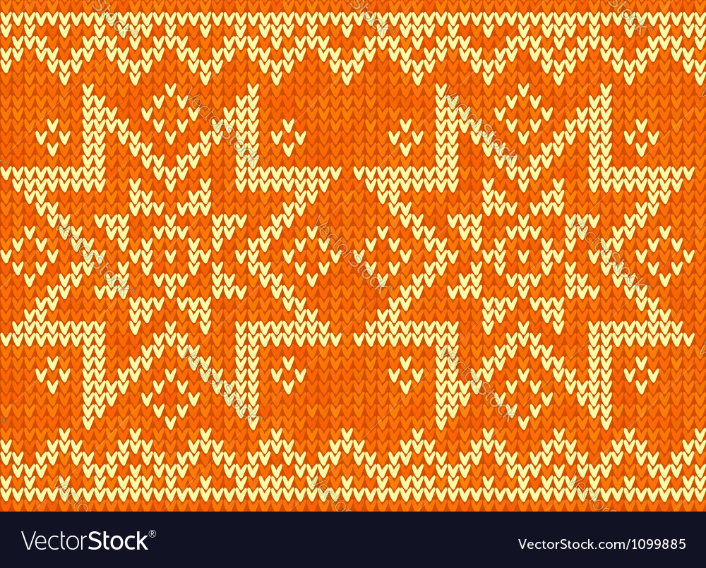 Orange knitted stars sweater in norwegian style vector | Price: 1 Credit (USD $1)