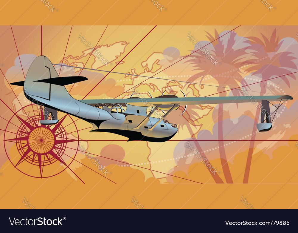 Retro seaplane vector | Price: 3 Credit (USD $3)