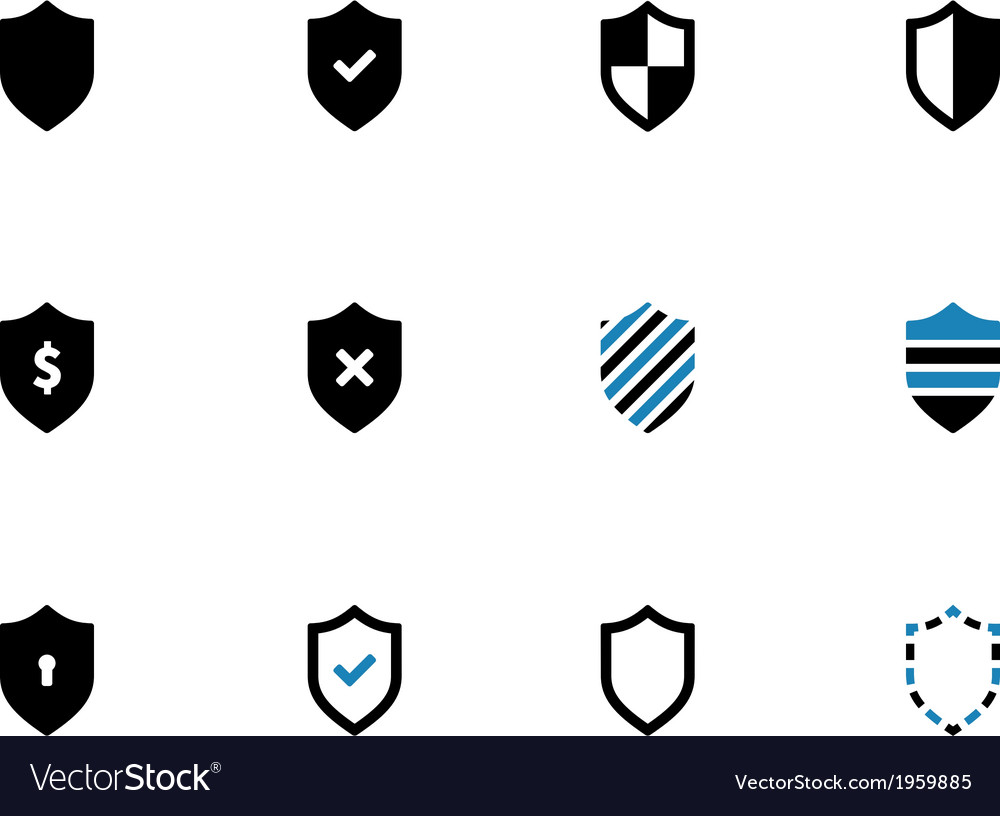Shield duotone icons on white background vector | Price: 1 Credit (USD $1)