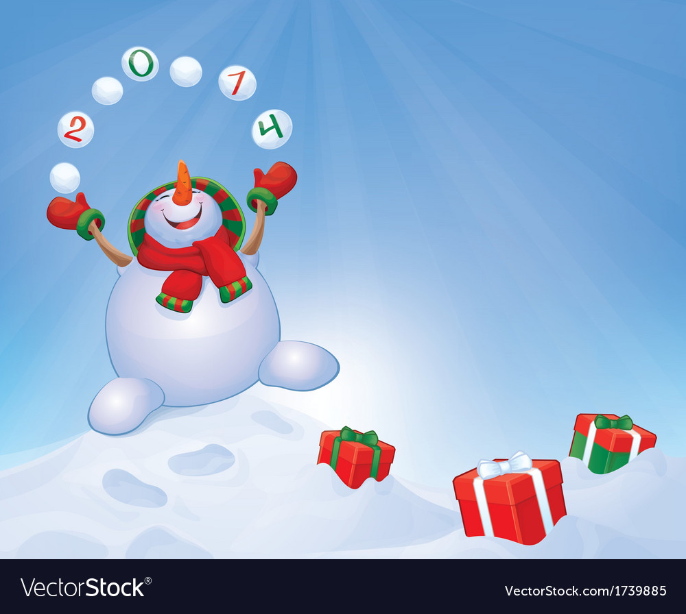 Snowman winter gifts vector | Price: 1 Credit (USD $1)