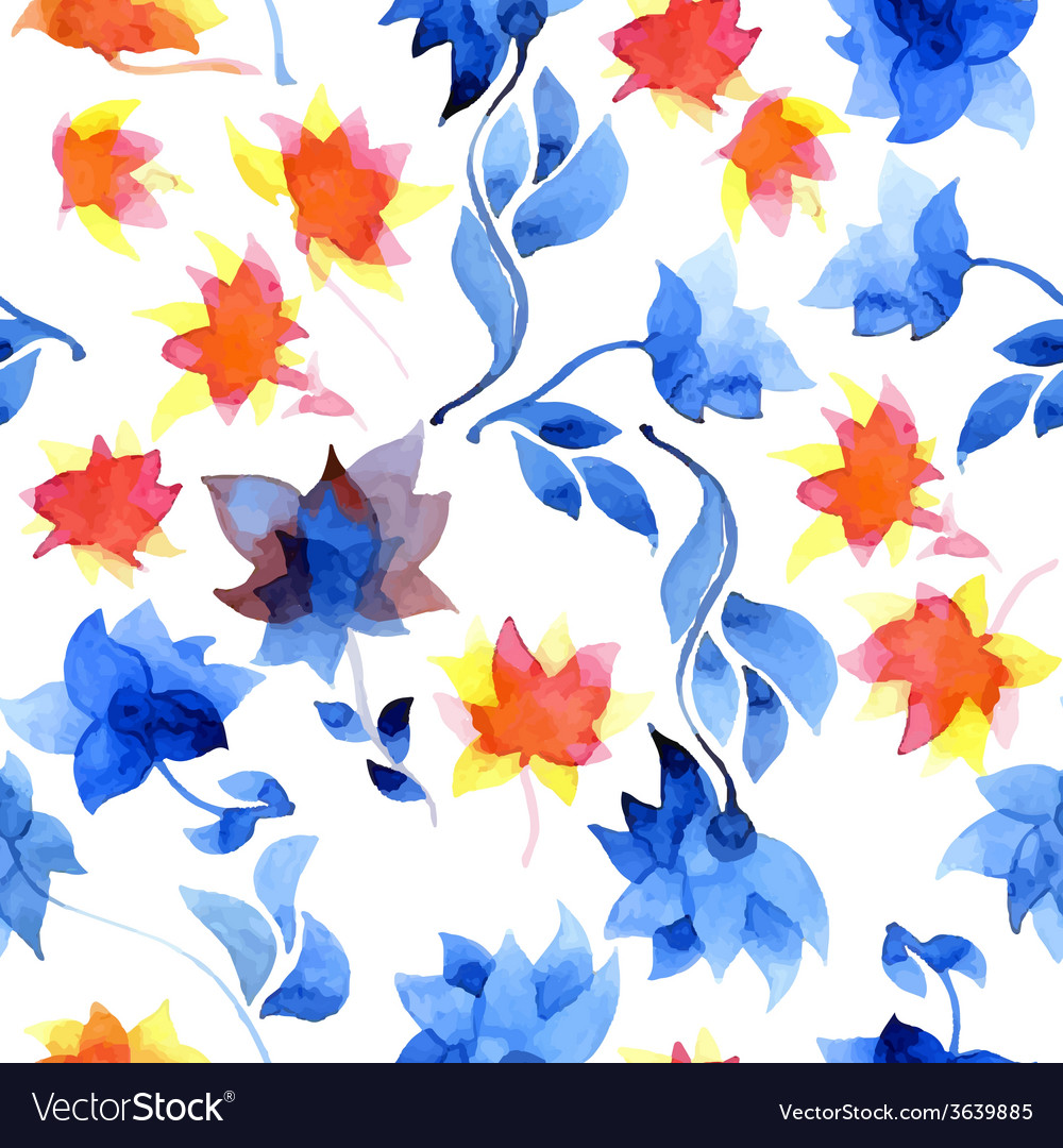 Watercolor floral pattern vector | Price: 1 Credit (USD $1)