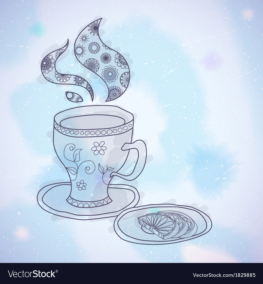 Watercolor teacup vector | Price: 1 Credit (USD $1)