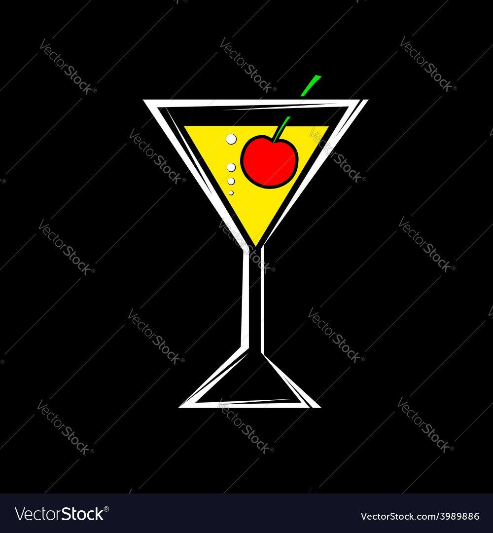 A glass with a cocktail and cherry isolated on a vector | Price: 1 Credit (USD $1)