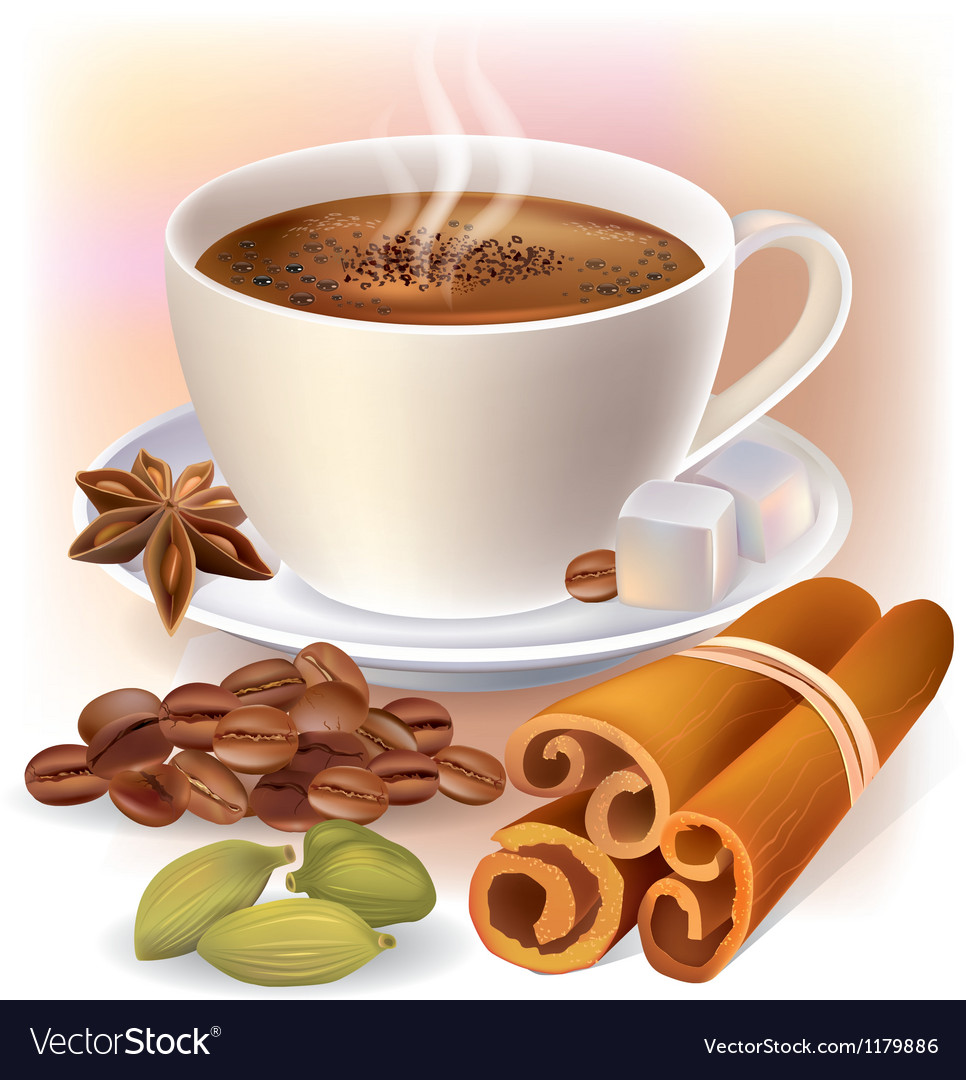 Aromatic coffee with spices vector | Price: 3 Credit (USD $3)