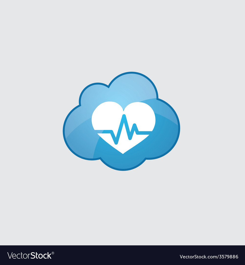 Blue cloud heart pulse icon vector | Price: 1 Credit (USD $1)