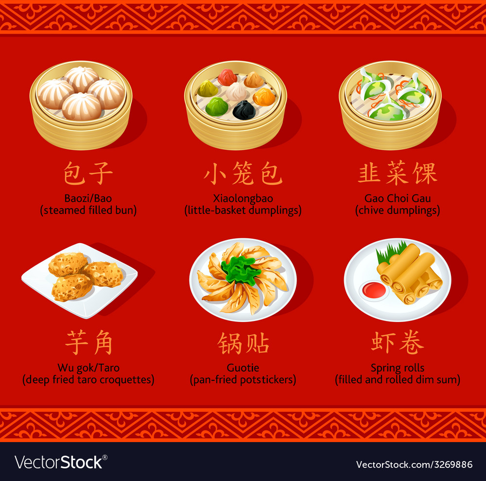 Chinese dumplings set ii vector | Price: 1 Credit (USD $1)