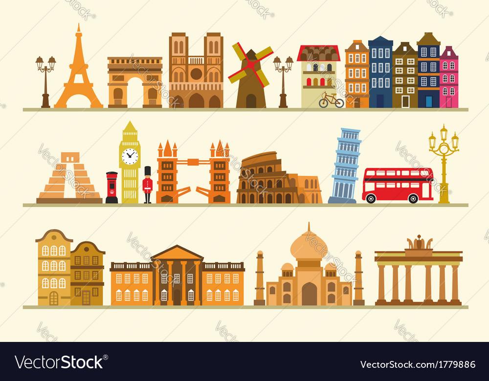 Color travel icon set vector | Price: 1 Credit (USD $1)