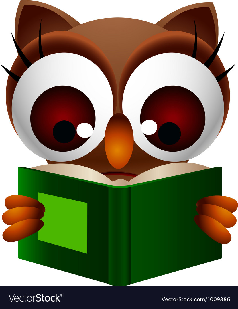 Cute owl reading book vector | Price: 3 Credit (USD $3)