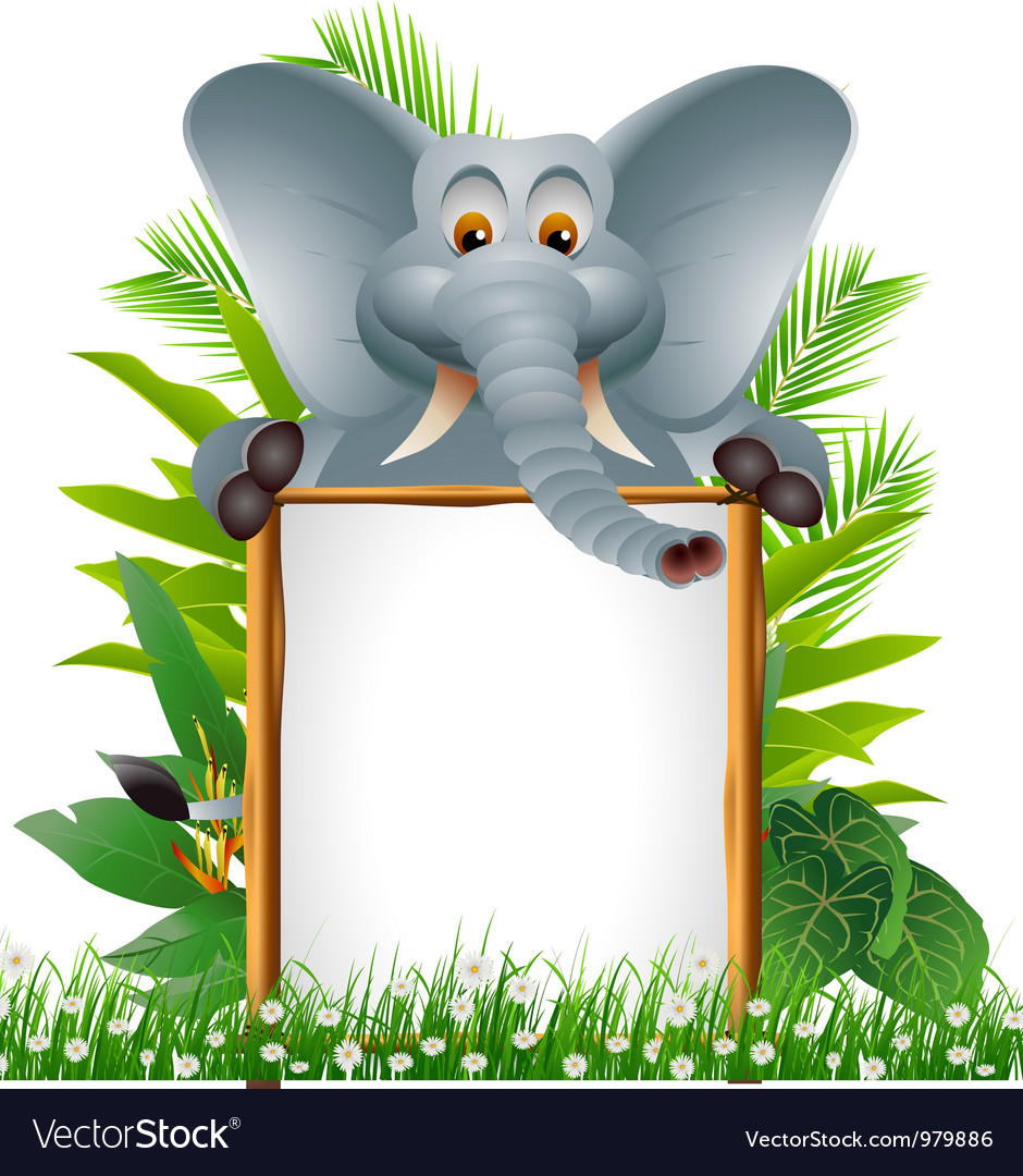 Elephant cartoon with blank sign vector | Price: 3 Credit (USD $3)