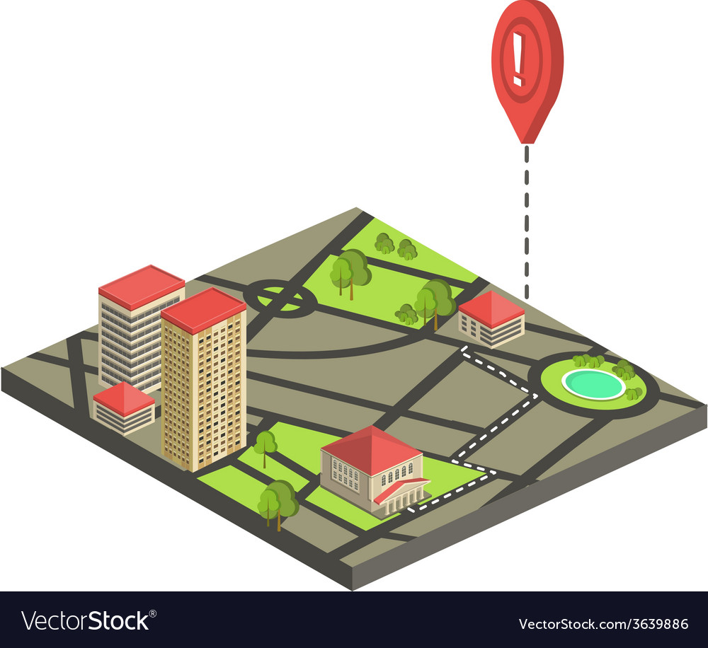 Isometric city map concept vector | Price: 1 Credit (USD $1)