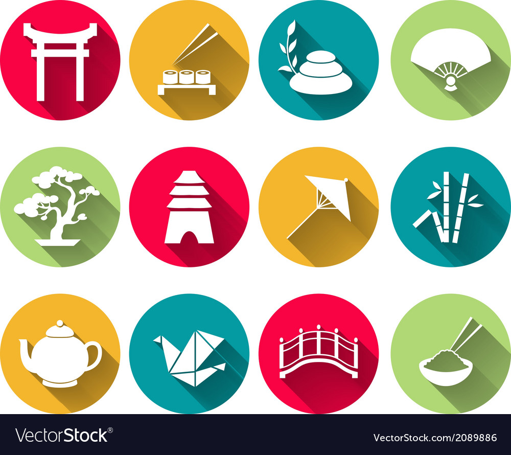 Japanese icons set vector | Price: 1 Credit (USD $1)