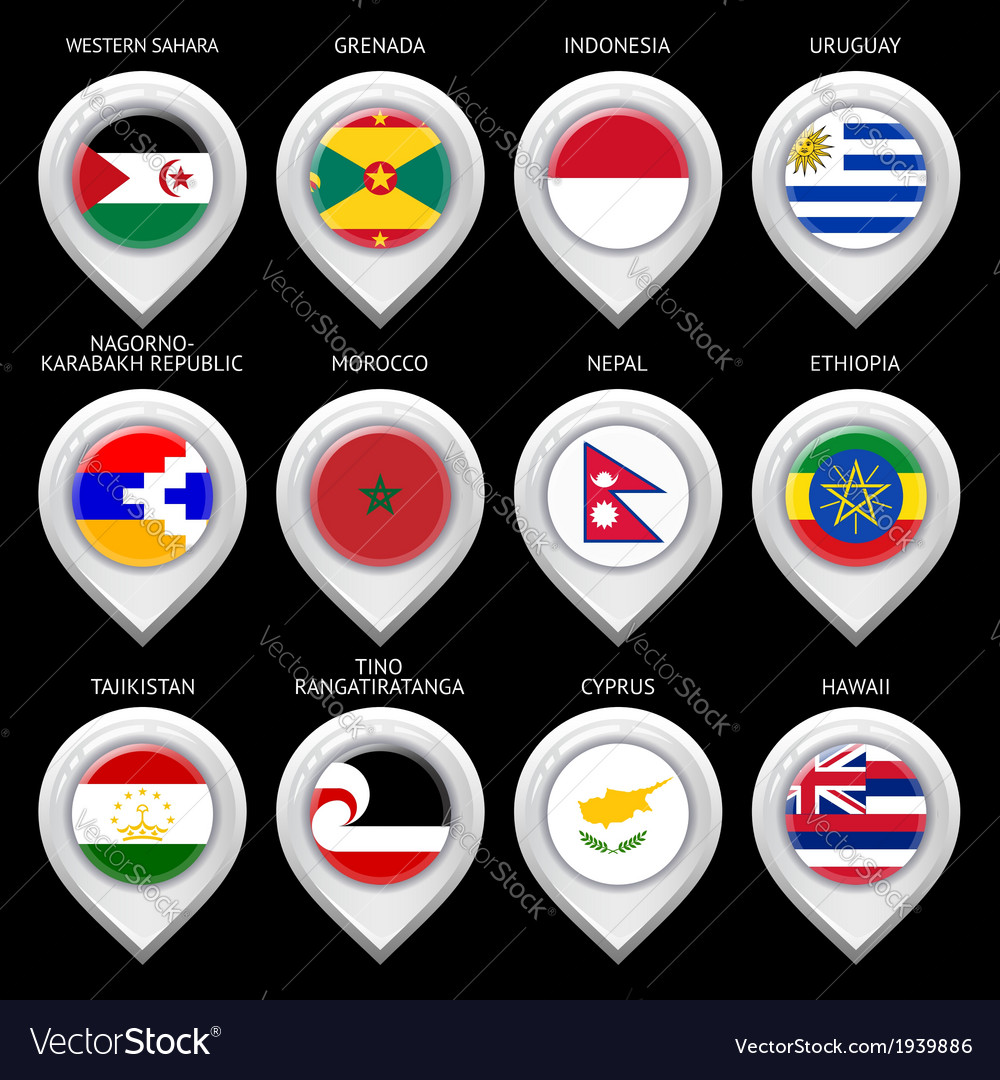 Map marker with flag-set fifteen vector | Price: 1 Credit (USD $1)