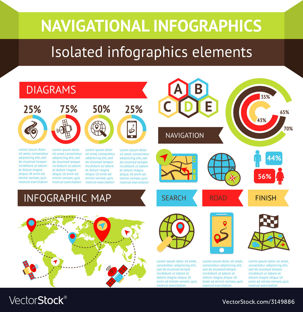 Navigational infographics set vector | Price: 1 Credit (USD $1)
