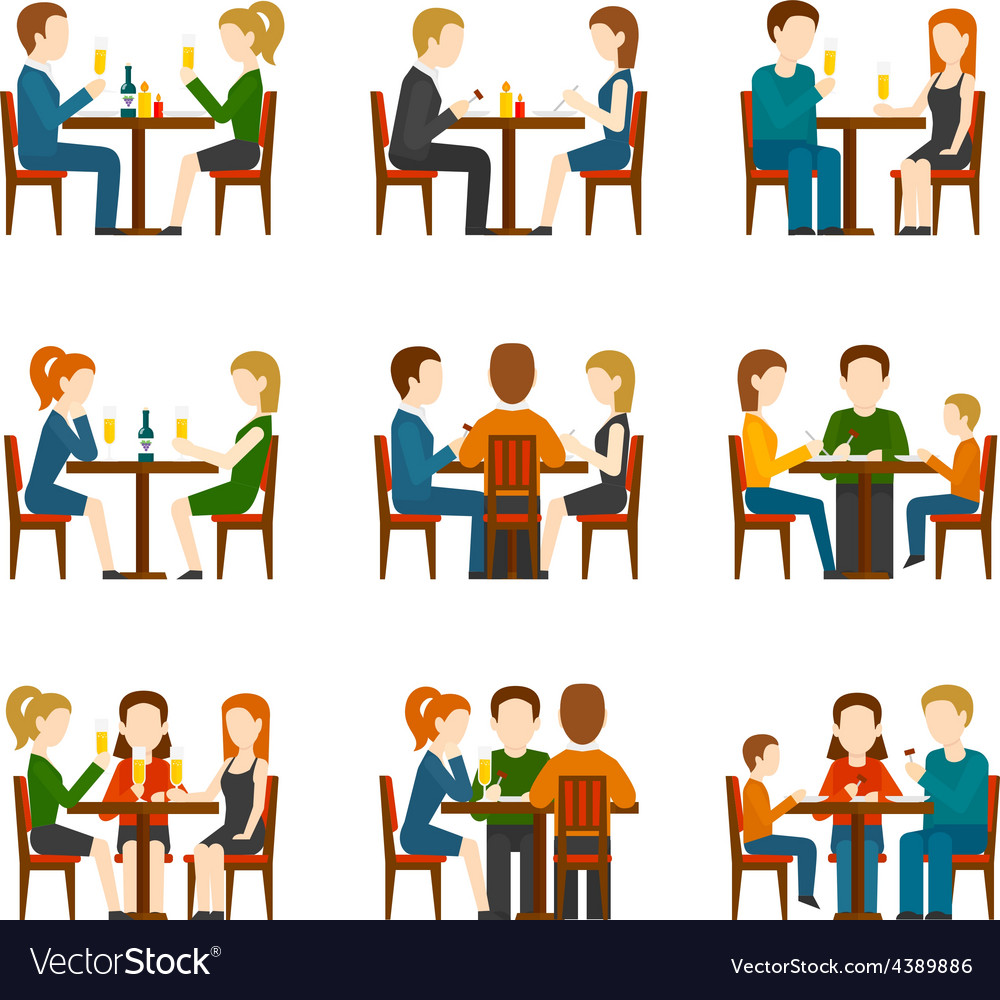 People in restaurant set vector | Price: 1 Credit (USD $1)