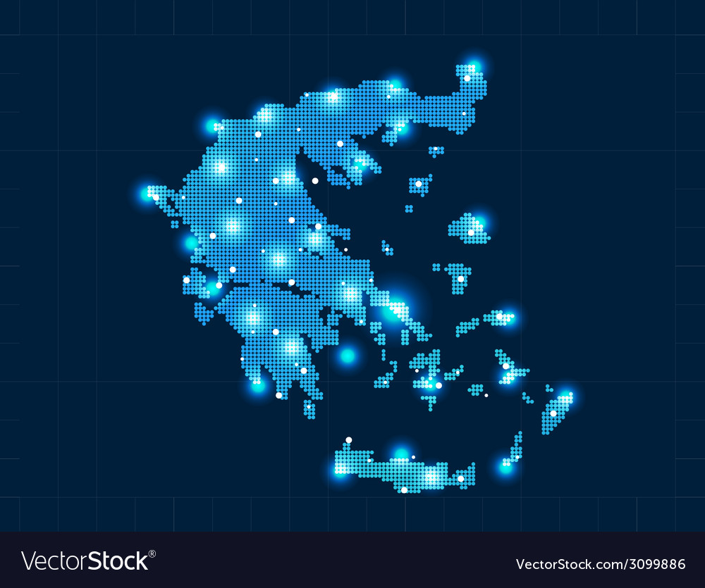 Pixel greece map with spot lights vector | Price: 1 Credit (USD $1)
