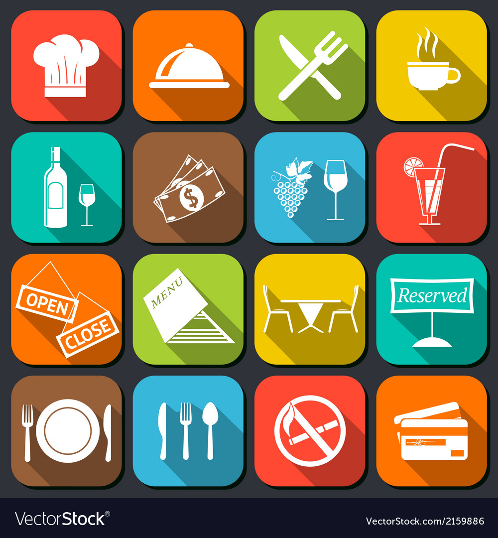 Restaurant food icons flat vector | Price: 1 Credit (USD $1)