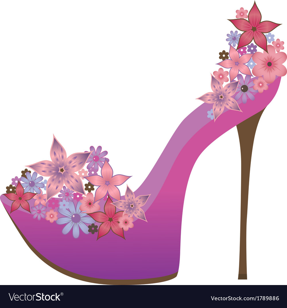 Shoes decorated with flowers vector | Price: 1 Credit (USD $1)