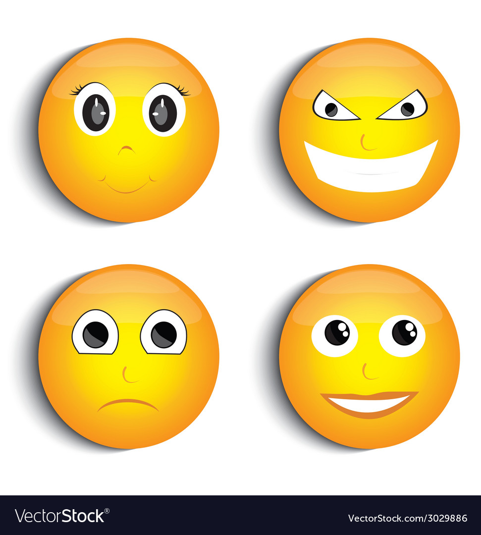 Smiley face set vector | Price: 1 Credit (USD $1)