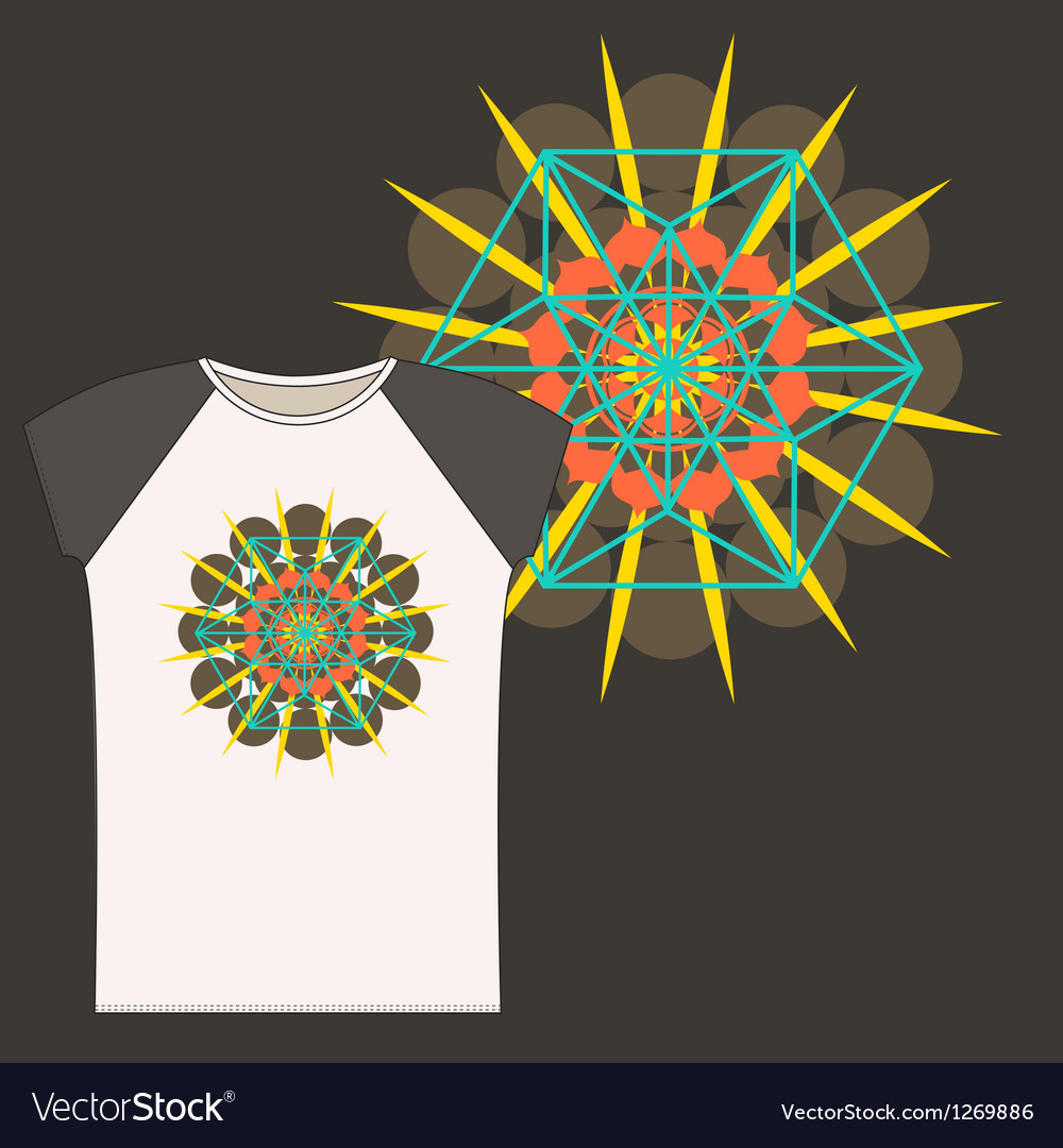 Star tetrahedron t shirt design vector | Price: 1 Credit (USD $1)