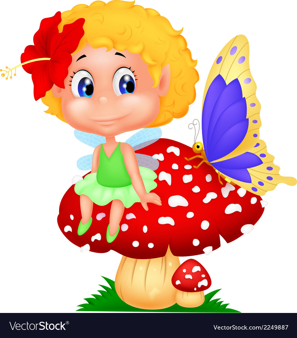 Baby fairy elf cartoon sitting on mushroom vector | Price: 1 Credit (USD $1)