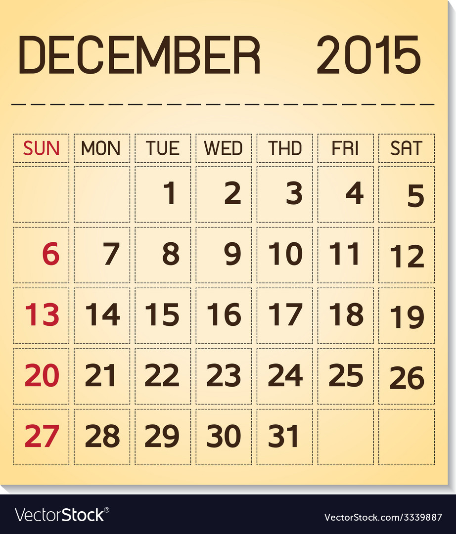 Calendar 2015 12 december vector | Price: 1 Credit (USD $1)