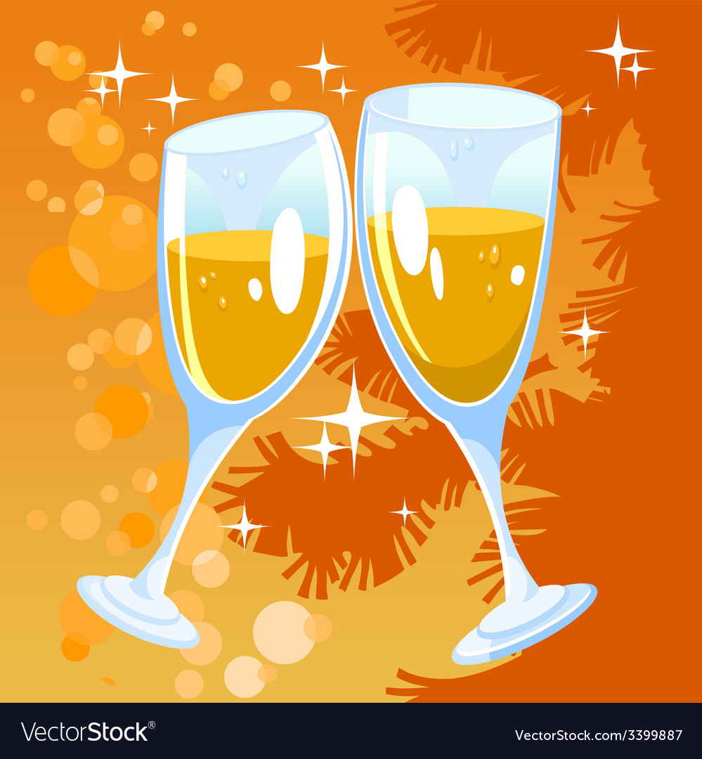 Christmas orange background with two glasses vector | Price: 1 Credit (USD $1)