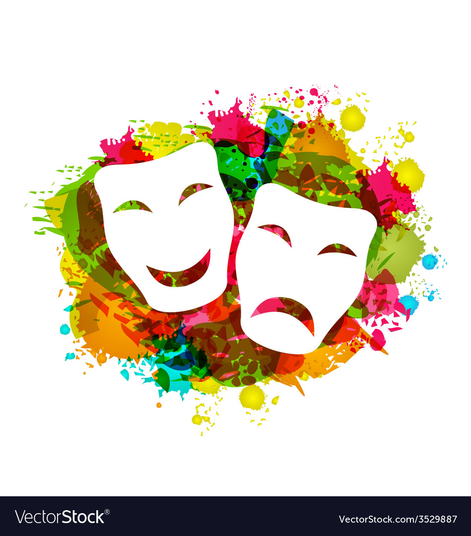 Comedy and tragedy simple masks for carnival on vector | Price: 1 Credit (USD $1)