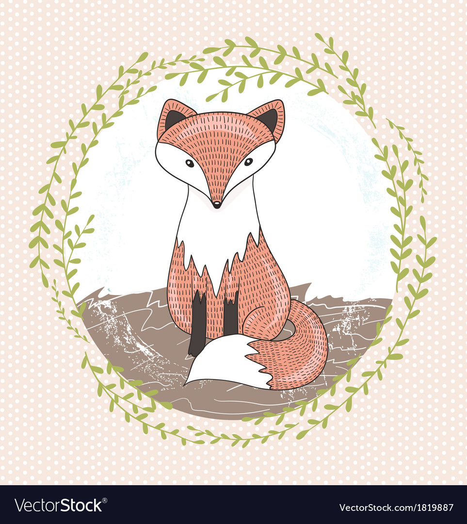 Cute little fox for children vector | Price: 1 Credit (USD $1)