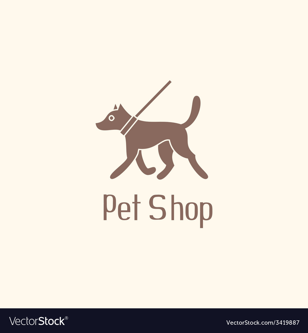 Cute pet shop logo with dog walking on leash vector | Price: 1 Credit (USD $1)