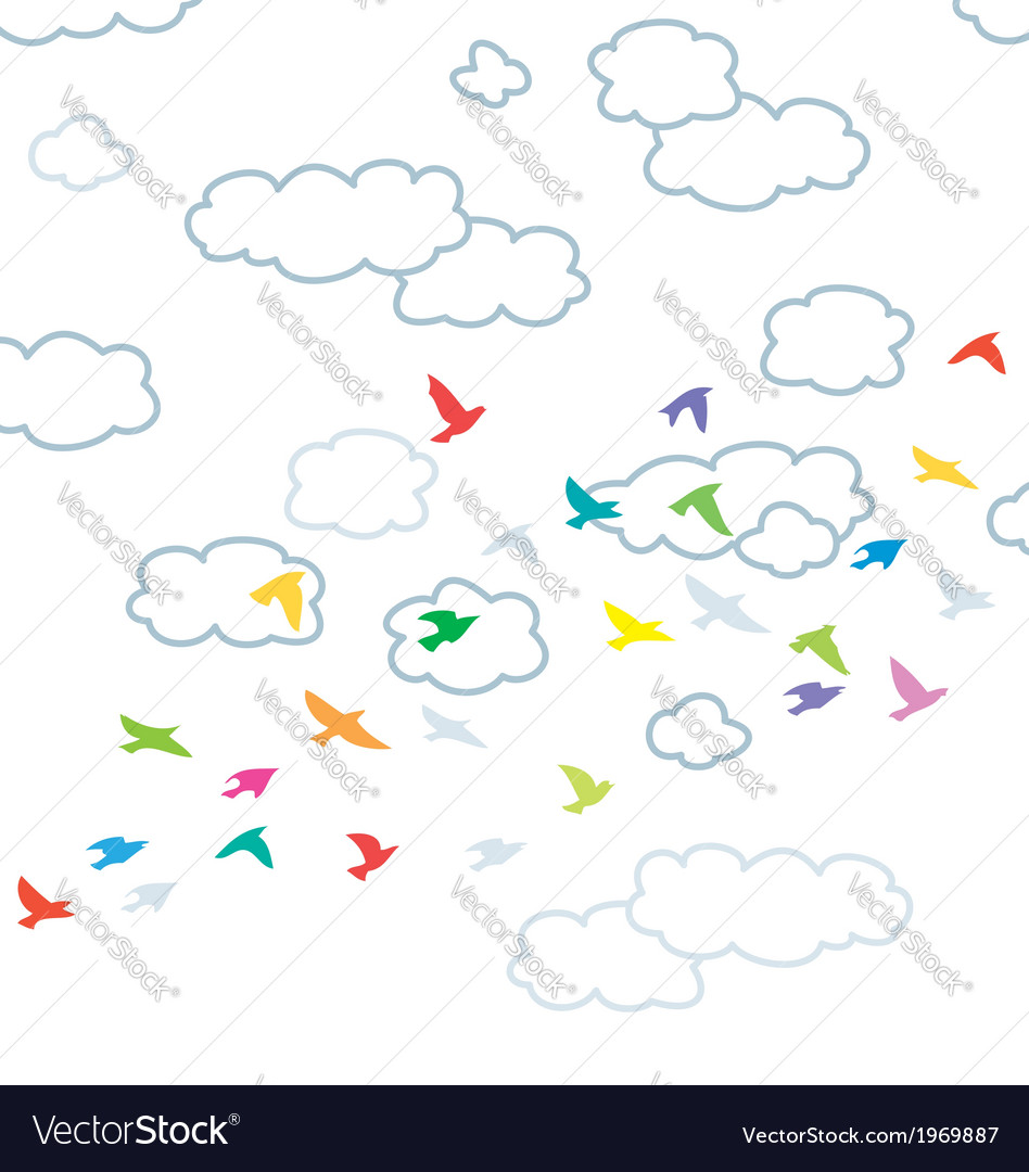 Flying birds and clouds vector | Price: 1 Credit (USD $1)