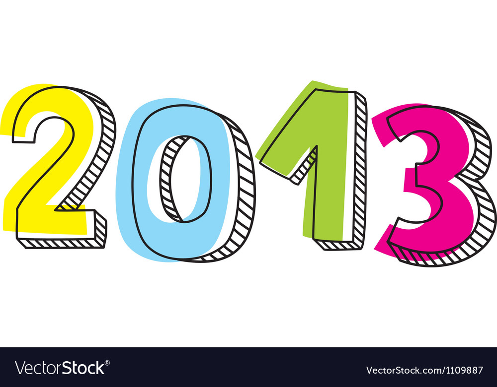 New year 2013 hand drawn doodle sign vector | Price: 1 Credit (USD $1)