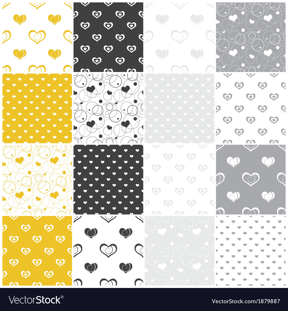 Yellow and gray seamless patterns with hearts vector | Price: 1 Credit (USD $1)