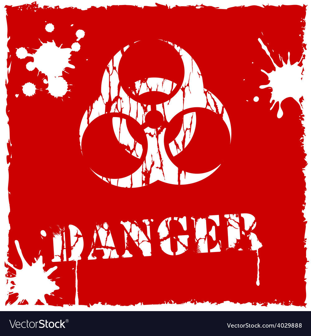 Biohazard icon red and white vector | Price: 1 Credit (USD $1)