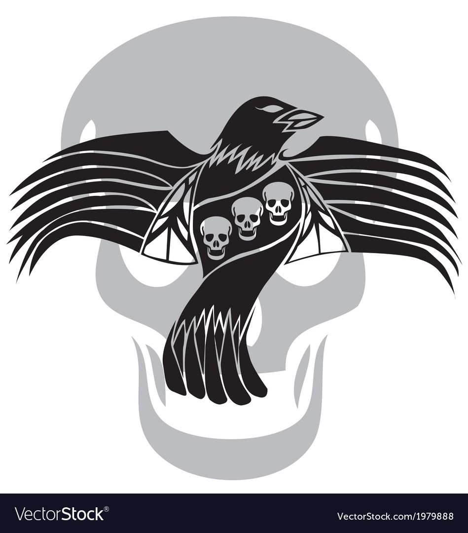 Black death crow flying on skull background vector | Price: 1 Credit (USD $1)